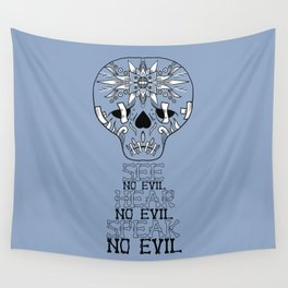 Cute Skull See no Evil Wall Tapestry
