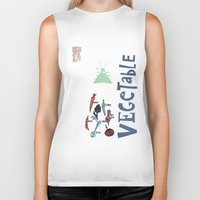 vegetable Biker Tanks featuring Vegetable Garden by june and august