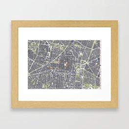 Mexico city map engraving Framed Art Print
