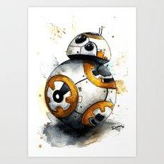 BB8 bb-8 droid Watercolor art Print Star Decor paint The Force Awakens Wars Art Print
