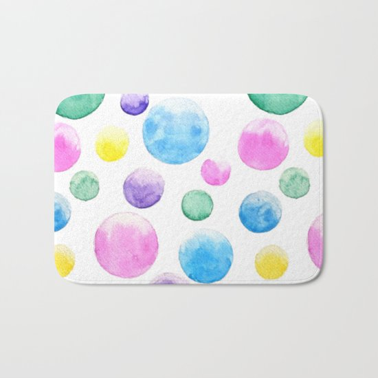 cheerful colorful bubbles Bath Mat