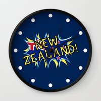 new zealand Wall Clocks featuring  New Zealand  by mailboxdisco