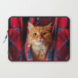 Cute and brash ginger cat in tartan shirt Laptop Sleeve
