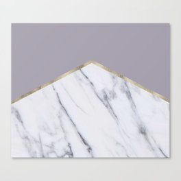 Smokey lilac - gold geometric marble Canvas Print
