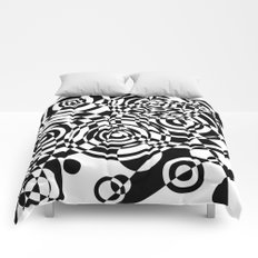 Raindrops 2 Black and White Geometric Painting Comforters