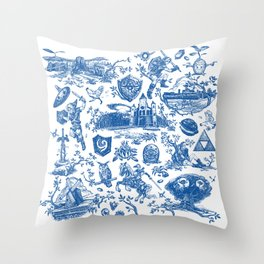 "Zelda ""Hero of Time"" Toile Pattern - Zora's Sapphire Throw Pillow"