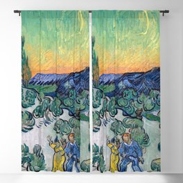 Couple Walking among Olive Trees, Vincent Van Gogh Blackout Curtain