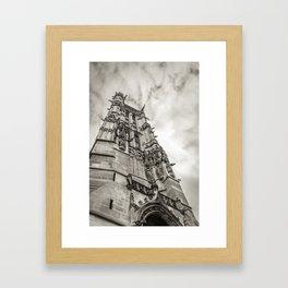 Gothic tower against the sky Framed Art Print
