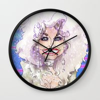 dolly parton Wall Clocks featuring DOLLY PARTON by Jessica Dudfield
