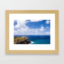 Kilauea Lighthouse overlooking the Pacific Ocean in Kauai, Hawaii Framed Art Print