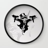 gangster Wall Clocks featuring Monopoly Gangster by Grime Lab