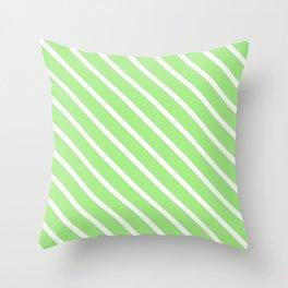 Spearmint Diagonal Stripes Throw Pillow