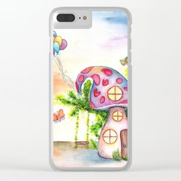 Mushroom House Watercolor Painting Clear iPhone Case