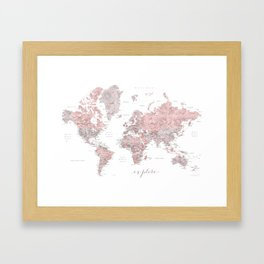 Explore - Dusty pink and grey watercolor world map, detailed Framed Art Print