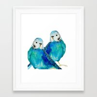 craftberrybush Framed Art Prints featuring Budgie couple  by craftberrybush