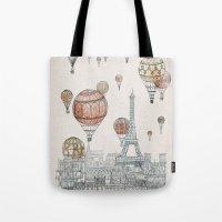 paris Tote Bags featuring Voyages Over Paris by David Fleck