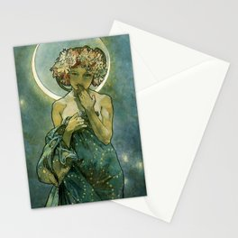 """Alphonse Mucha """"The Moon and the Stars Series: The Moon"""" Stationery Cards"""