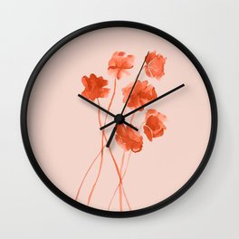 Red orange watercolor poppies on blushpink Wall Clock