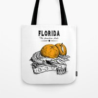 florida Tote Bags featuring Florida by Krikoui
