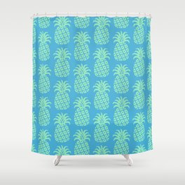 Mid Century Modern Pineapple Pattern Blue and Green Shower Curtain