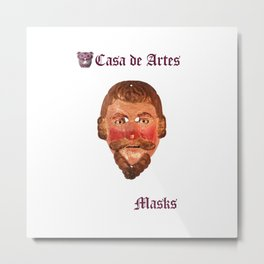 Pedro de Alvarado Guatemalan Mask - Casa de Artes Metal Print