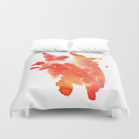 watercolor orange 1 Duvet Cover
