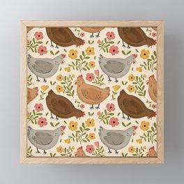 Springtime Chickens Framed Mini Art Print