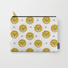 Lion cute pattern nursery kids geometric triangle animal safari Carry-All Pouch