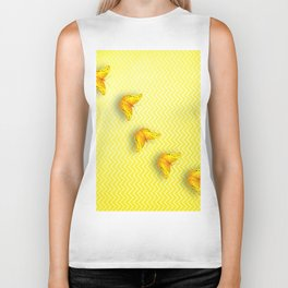 Butterflies on buttercup yellow chevron pattern Biker Tank