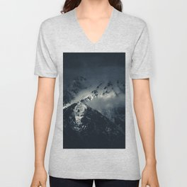Darkness and clouds over the mountains Unisex V-Neck