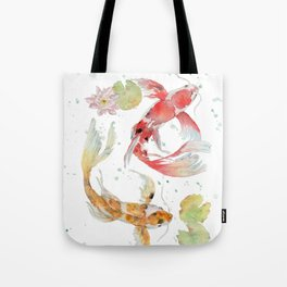 "Watercolor Painting of Picture ""Koi Pond"" Tote Bag"