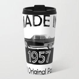 """Vintage Birthday Gifts """"Made 1957 All Original Parts"""" Cadillac black car Travel Mug"""