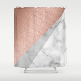 Rose Gold and Marble Shower Curtain