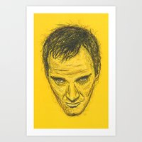 tarantino Art Prints featuring Quentin Tarantino by Treyson Bird