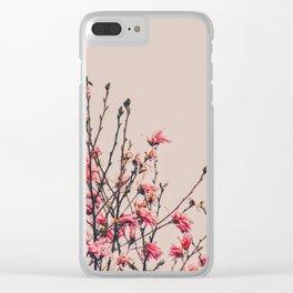 Vintage Magnolia Flowers Clear iPhone Case