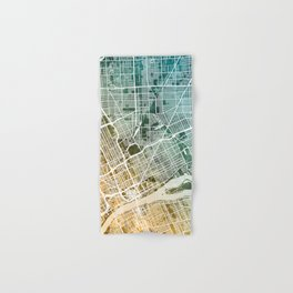 Detroit Michigan City Map Hand & Bath Towel