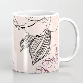 Custom Multicolor Pencil Floral Pattern Coffee Mug