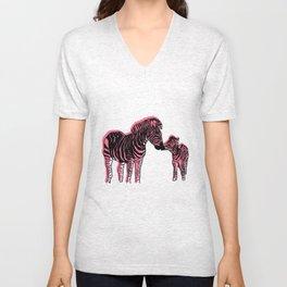 Zebra Mother And Baby Unisex V-Neck