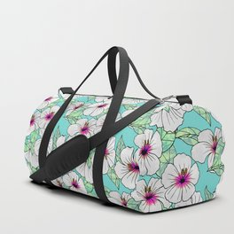 Pink & White Tropical Hibiscus Floral Pattern Duffle Bag