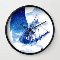 ship Wall Clocks featuring Abandon Ship by Niel Quisaba