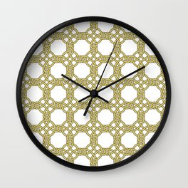 Gold & White Knotted Design Wall Clock