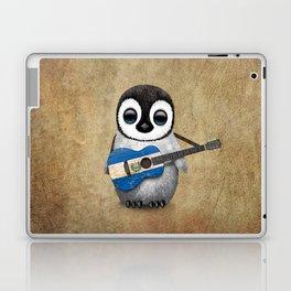 Baby Penguin Playing Salvadorian Flag Acoustic Guitar Laptop & iPad Skin