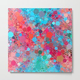 psychedelic geometric circle pattern and square pattern abstract in pink red blue Metal Print