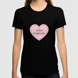 I Love Italian Greyhounds Simple Heart Design T-shirt