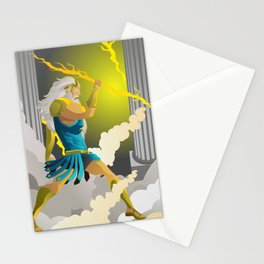zeus jupiter god in the olympus throwing a ray Stationery Cards
