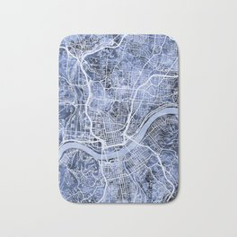Cincinnati Ohio City Map Bath Mat