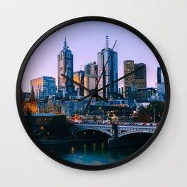 Melbourne Skyline Fine Art Print Wall Clock