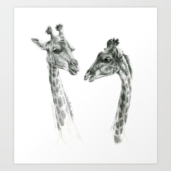 Giraffes love G055bis Art Print