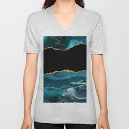 Dreams - Teal and Gold Metallic Agate  Unisex V-Neck