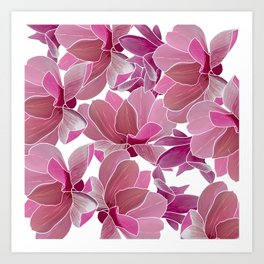 Modern blush pink coral watercolor tropical orchid floral Art Print